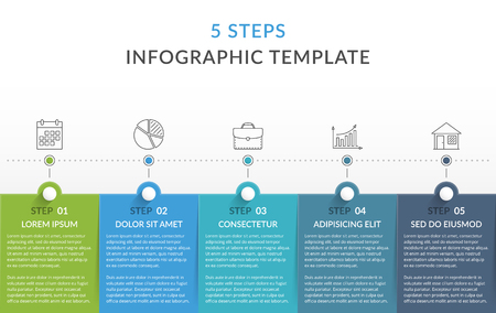 Infographic template with 5 steps, workflow, process chart  イラスト・ベクター素材