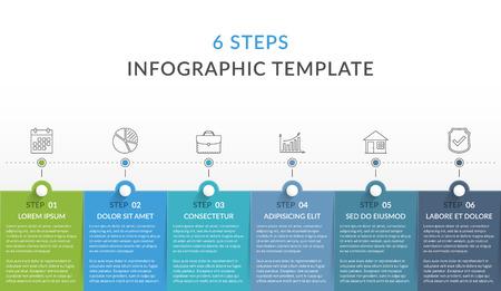 Plantilla de infografía con 6 pasos, flujo de trabajo, gráfico de proceso, ilustración vectorial eps10