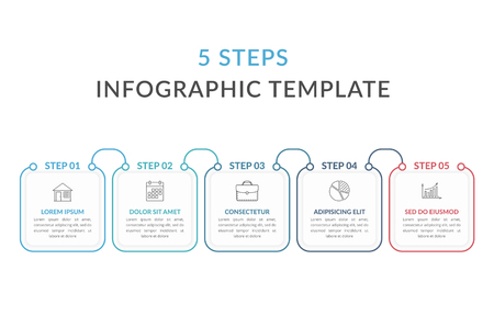 Infographic template with five squares with text and line icons, process diagram, workflow, five steps or options, vector eps10 illustration