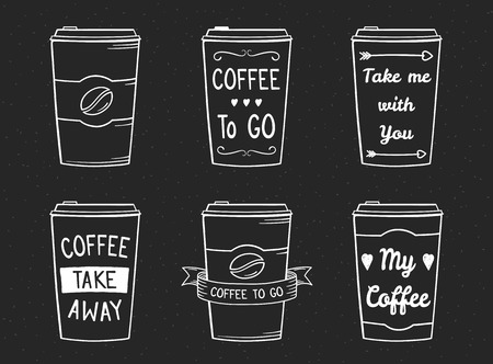 Hand drawn coffee to go paper cups, take away coffee cups - six design templates for cafe, menu, posters, vector eps10 illustration
