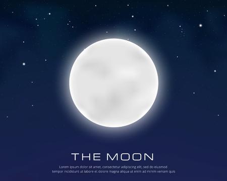 Full moon on the starry sky, vector eps10 illustration