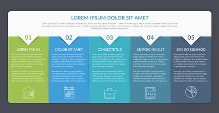 Infographic template with 5 elements for text and icons, can be used for web design, workflow layout, process chart, report, company milestones, vector eps10 illustration