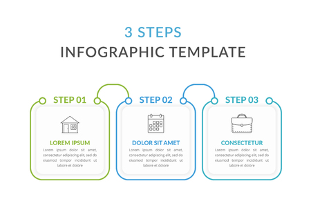 Infographic template with three squares with text and line icons, process diagram, workflow, three steps or options, vector eps10 illustration Stock Illustratie
