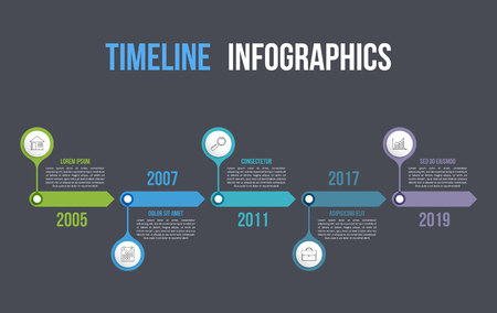 Timeline with icons, 5 elements, infographic template for web, business, presentations, vector eps10 illustration Stock Illustratie