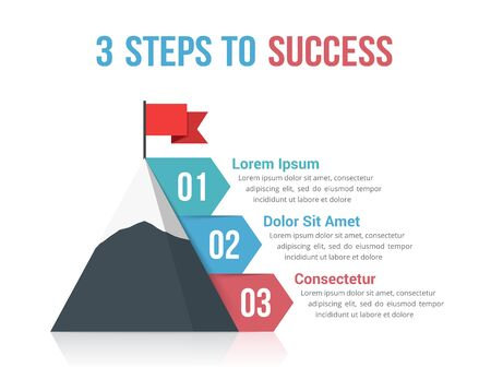 4 Steps to success infographics, leadership or motivation concept illustration
