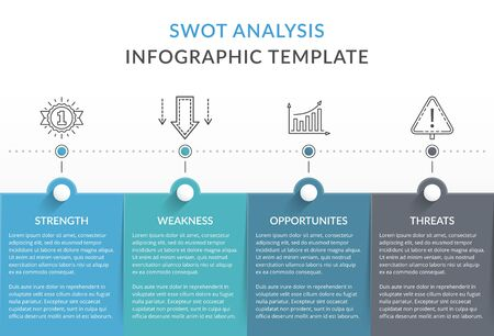 SWOT analysis diagram, infographic template with four elements illustration