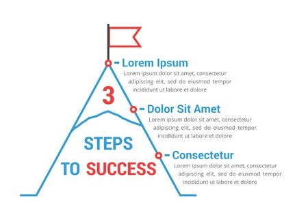 3 Steps to success, infographic template, leadership or motivation concept illustration Ilustração