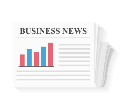 Newspaper with bar chart and line chart, business news, vector eps10 illustration