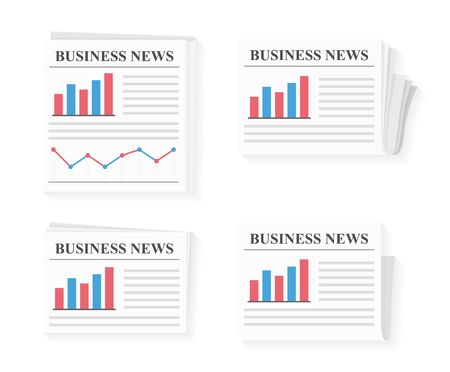 Four newspapers with business news, vector eps10 illustration