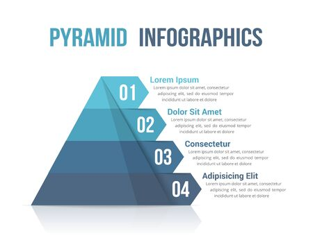Pyramid with four segments, infographic template for web, business, reports, presentations, etc, vector eps10 illustration Иллюстрация