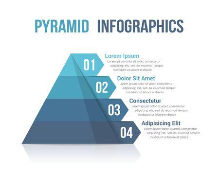 Pyramide à quatre segments, modèle infographique pour le web, les affaires, les rapports, les présentations, etc., illustration vectorielle eps10