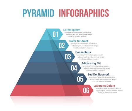 Piramida z sześcioma segmentami, szablon infografiki dla sieci, biznesu, raportów, prezentacji itp., Ilustracja wektorowa eps10