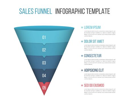 Funnel diagram with five segments, infographic template for web, business, presentations, vector eps10 illustration