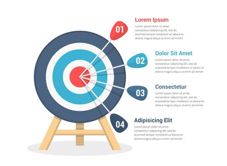 Obiettivo con quattro frecce, tre passaggi verso il tuo obiettivo, modello di infografica per web, affari, presentazioni, illustrazione vettoriale eps10