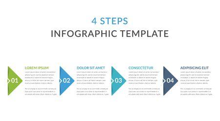 Plantilla de infografía con 4 pasos, flujo de trabajo, gráfico de proceso, ilustración vectorial eps10