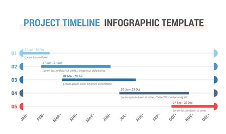 Gantt chart, project timeline with five stages, infographic template for web, business, presentations, vector eps10 illustration
