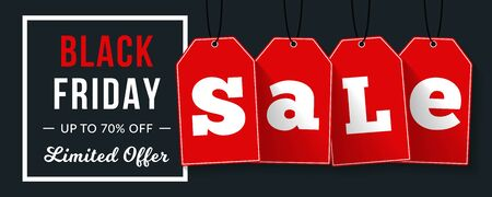 Black friday sale banner with red tags on black background with white frame, vector eps10 illustration