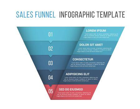 Funnel diagram, 5 segments, infographic template for web, business, presentations, vector eps10 illustration Çizim