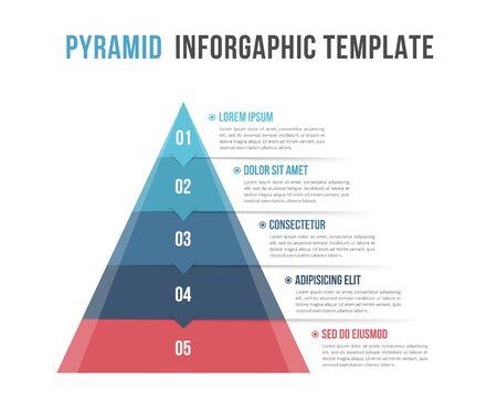 Pyramide mit fünf Elementen und Platz für Ihren Text, Infografik-Vorlage für Web, Business, Präsentationen, Vektorillustration eps10