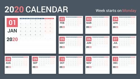 Modello di calendario 2020, pianificatore, 12 pagine, inizio settimana lunedì, illustrazione vettoriale eps10 Vettoriali