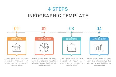 Infographic template with 4 steps, workflow, process chart, vector illustration