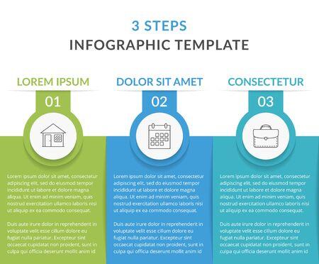 Infografika szablon z 3 elementami z miejscem na tytuł, numer, ikonę i tekst, przepływ pracy, wykres procesu, ilustracja wektorowa Ilustracje wektorowe