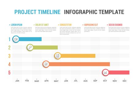 Gantt chart, project timeline with five stages, infographic template, vector illustration