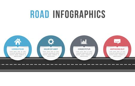Road infographics with four circles with place for your icons and text, vector illustration