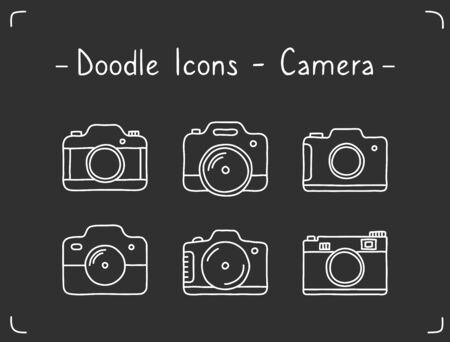 Doodle camera icons on dark background, vector eps10 illustration