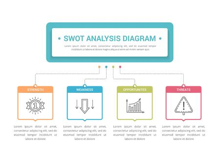 SWOT Analysis diagram, infographic template for web, business, presentations, vector eps10 illustration