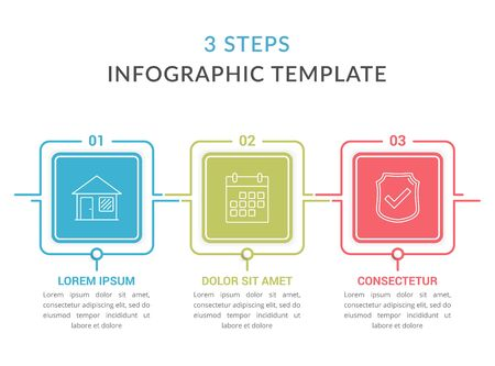 Infographic template with three squares with text and line icons, process diagram, workflow, three steps or options, vector eps10 illustration Çizim