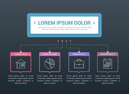 Infographic template with main title and 4 steps or options, flowchart with 4 elements, workflow, process chart, vector eps10 illustration