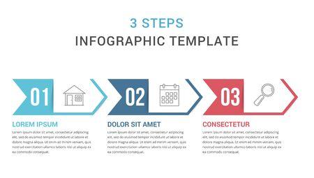 Plantilla de infografía con tres pasos, diagrama de proceso, ilustración vectorial eps10 Ilustración de vector