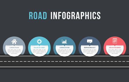Road infographics with five circles with place for your icons and text, vector eps10 illustration
