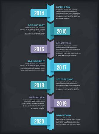 Modèle d'infographie de chronologie verticale avec sept flèches, illustration vectorielle eps10