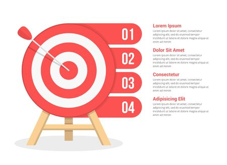 Target with four elements for your text, four steps to your goal, infographic template for web, business, presentations, vector eps10 illustration