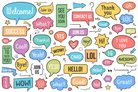 Collection of hand drawn speech bubbles with different phrases, arrows and other design elements, vector eps10 illustration