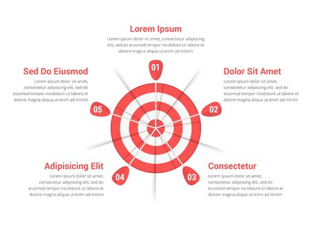 Red target with five arrows, five steps to your goal, vector eps10 illustration