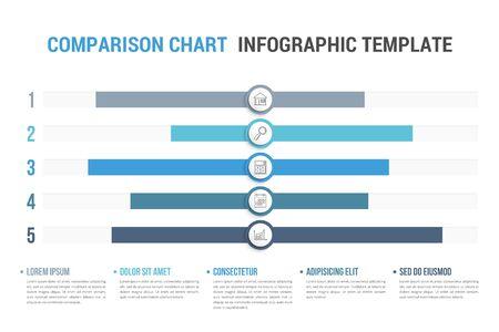 Tableau de comparaison avec cinq éléments et légende, modèle d'infographie pour le web, les affaires, les présentations, l'illustration vectorielle eps10
