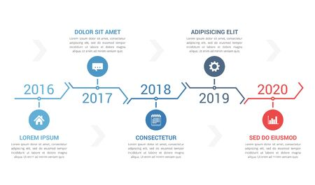 Horizontal timeline template with five arrows, infographic template for web, business, presentations, workflow or process diagram, vector eps10 illustration Ilustración de vector