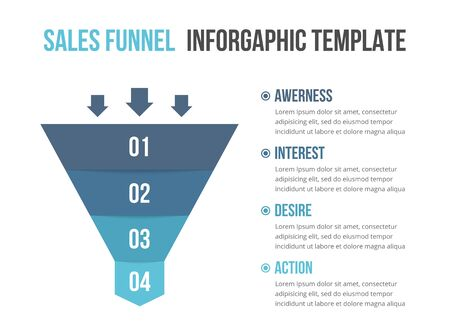 Funnel diagram with 4 elements, infographic template for web, business, presentations, vector illustration