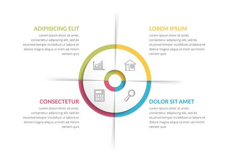 Circle infographic template with four steps or options, process chart, vector eps10 illustration Ilustração