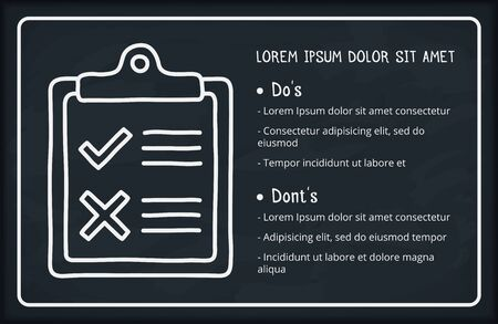 Check list with do and dont lists, handdrawn doodle style, blackboard background, vector eps10 illustration