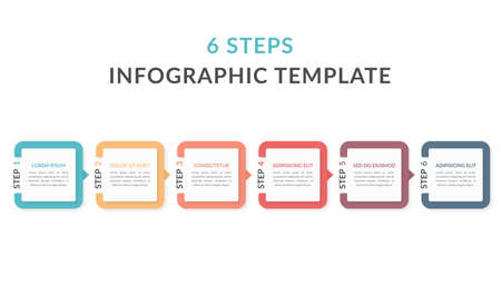 Infographic template with six elements with numbers and place for your text, workflow, process chart, steps or options, vector eps10 illustration