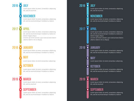 Vertical timeline infographics template with arrows, workflow, process chart, vector eps10 illustration Archivio Fotografico - 150584743