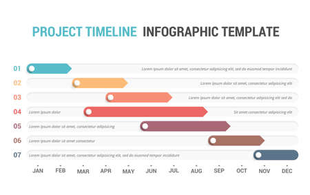 Gantt chart, project timeline with seven stages, infographic template, vector eps10 illustration Vetores
