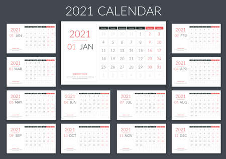 2021 Calendar template, planner, 12 pages, week starts on Monday, vector eps10 illustration