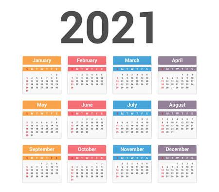 2021 Calendar, week starts on Sunday Vector Illustration