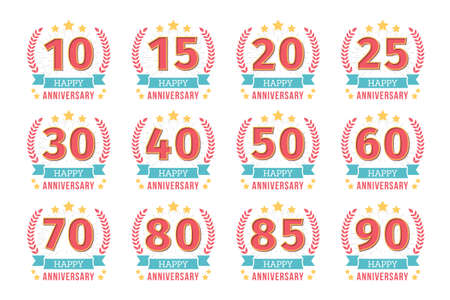 Set of 12 anniversary emblems with ribbon, 10 - 90 years.