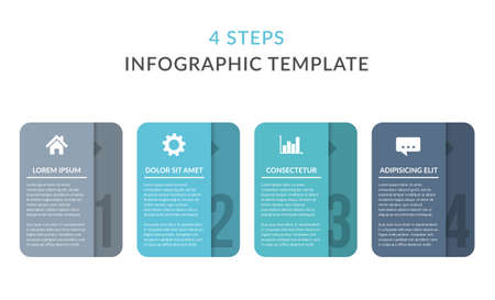 Four infographic elements with numbers, icons and place for your text, workflow, process chart, steps or options, vector eps10 illustration